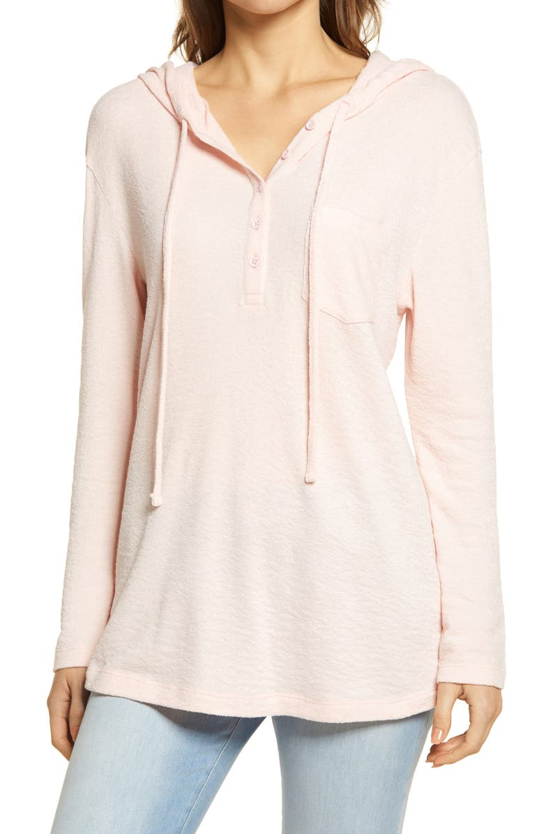 CASLON<SUP>®</SUP> Hooded Knit Pullover, Main, color, PINK CHINTZ