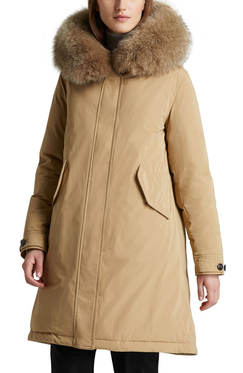 WOOLRICH Keystone Hooded Down Parka with Genuine Fox Fur Trim, Main, color, GOLD KHAKI