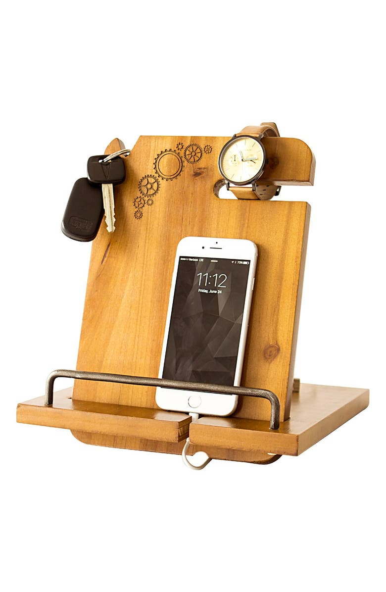 CATHY'S CONCEPTS Steampunk Monogram Docking Station, Main, color, Brown