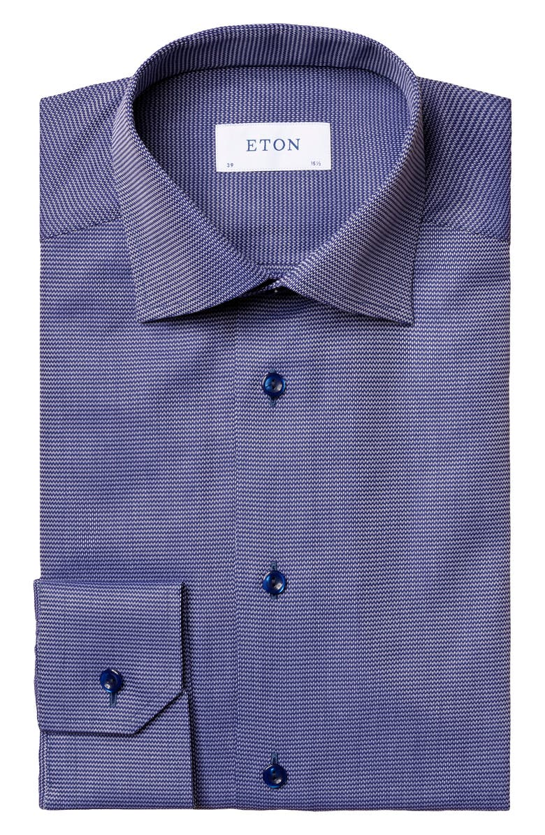 ETON Contemporary Fit Navy Textured Solid Dress Shirt, Main, color, 400
