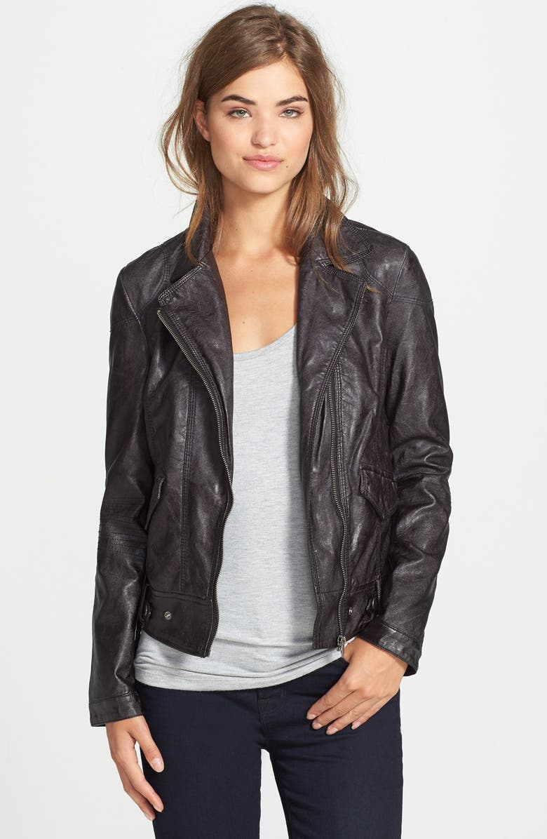 KUT FROM THE KLOTH 'Dean' Distressed Faux Leather Jacket, Main, color, Black