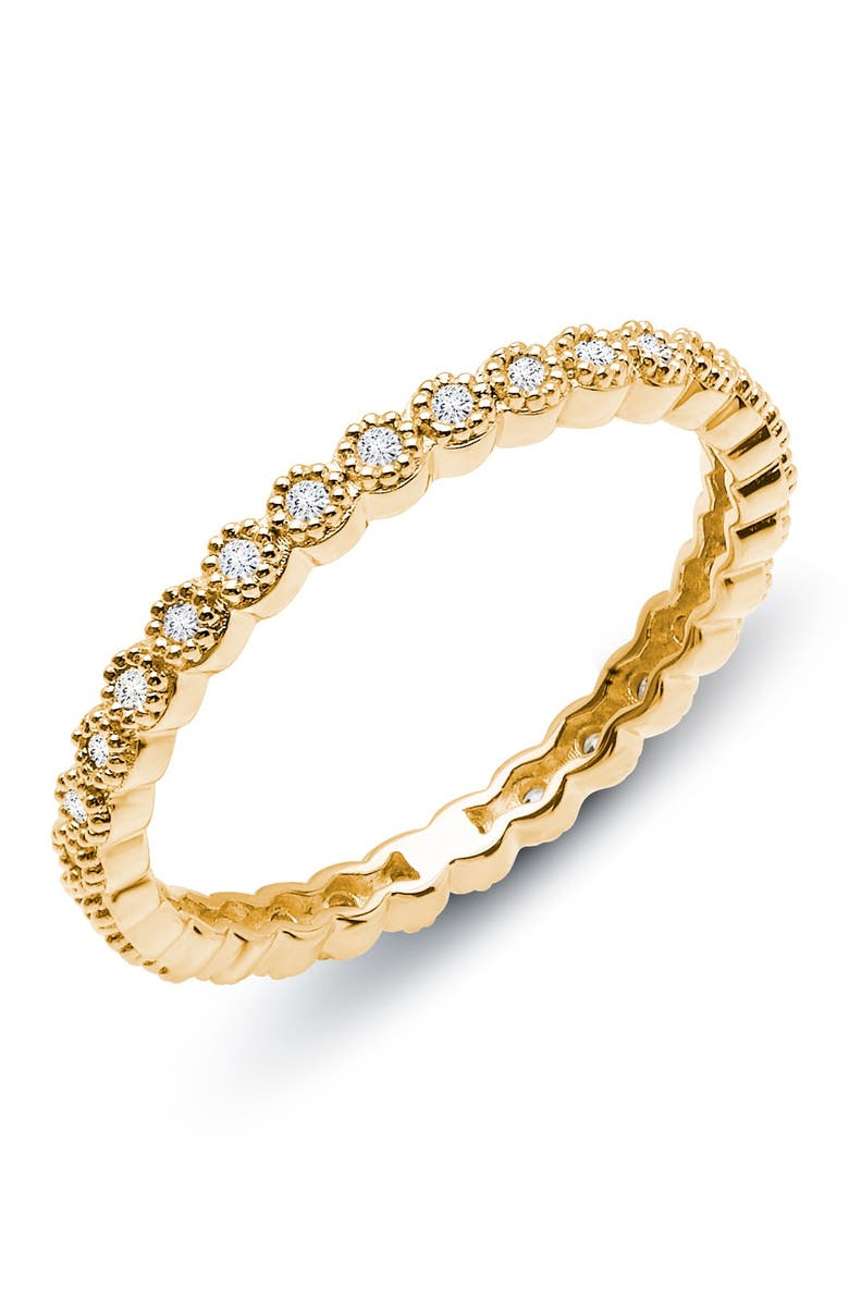 LAFONN 18K Gold Plated Sterling Silver Simulated Diamond Eternity Band, Main, color, WHITE