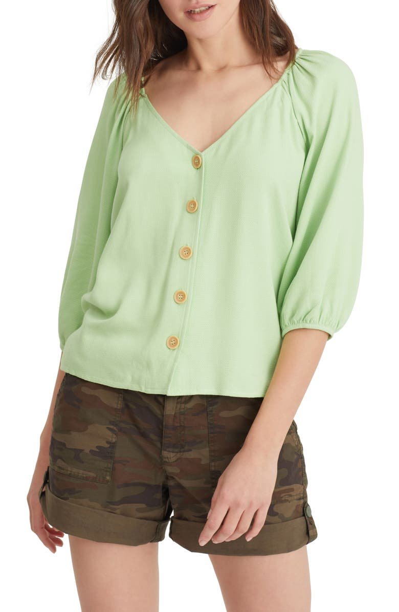 SANCTUARY Modern Front Button Blouse, Main, color, LT PISTACHIO