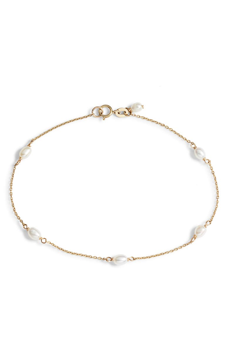 POPPY FINCH Keshi Pearl Station Bracelet, Main, color, YELLOW GOLD/ PEARL