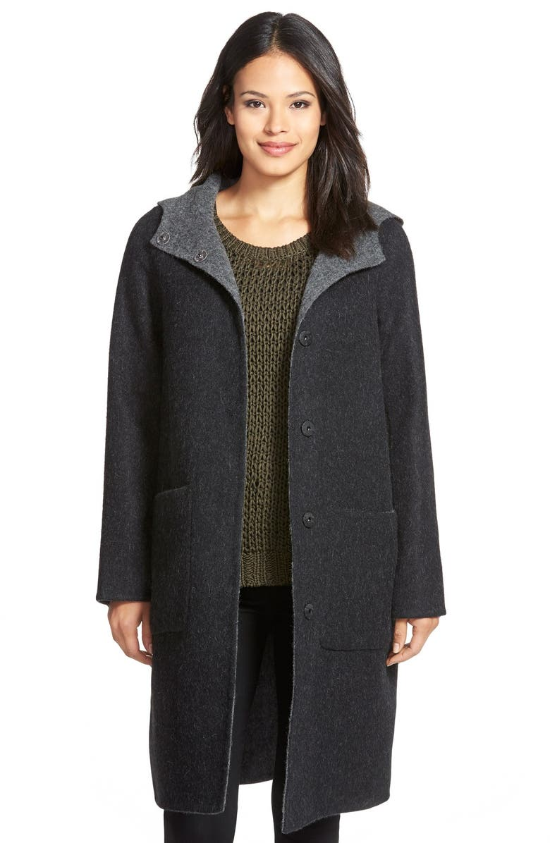 EILEEN FISHER Hooded Double Face Alpaca Blend Coat, Main, color, 021