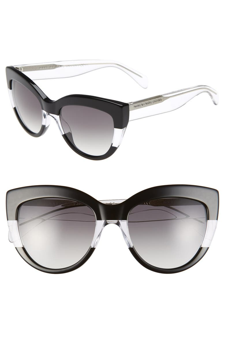 MARC BY MARC JACOBS 53mm Cat Eye Sunglasses, Main, color, 001
