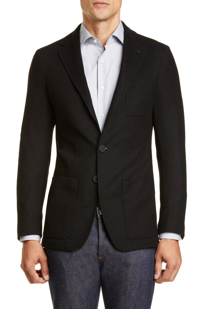 CANALI Black Edition Classic Fit Solid Knit Wool Sport Coat, Main, color, 001