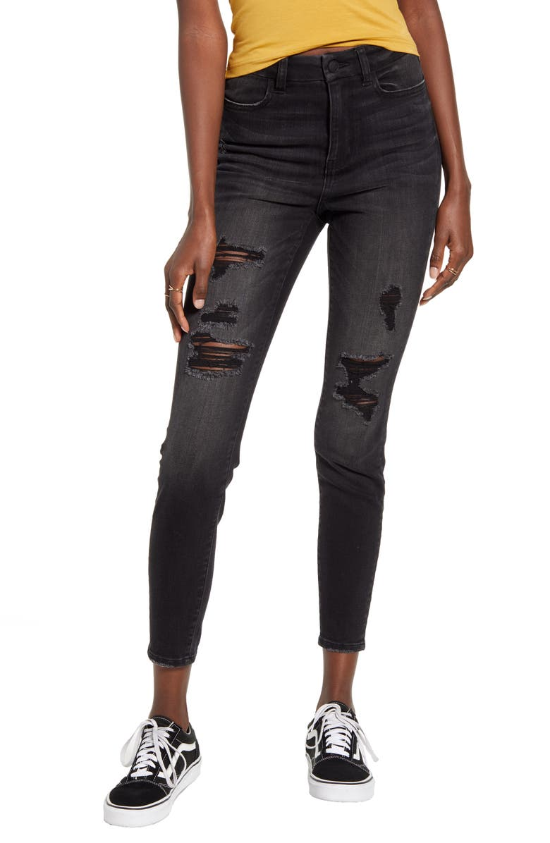 BP. Ripped High Waist Curvy Skinny Jeans, Main, color, 001