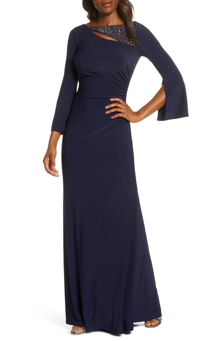 VINCE CAMUTO Split Long Sleeve Trumpet Gown, Main, color, 410