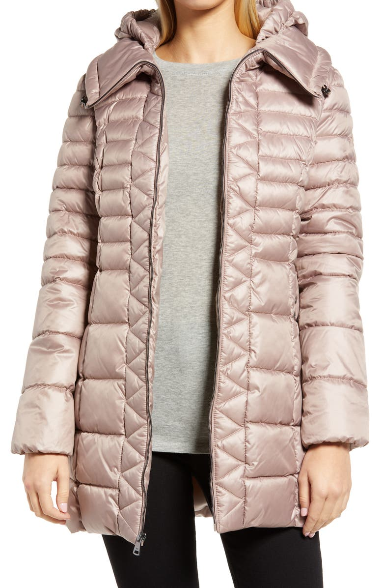 KENNETH COLE NEW YORK Hooded Packable Puffer Coat, Main, color, TAUPE