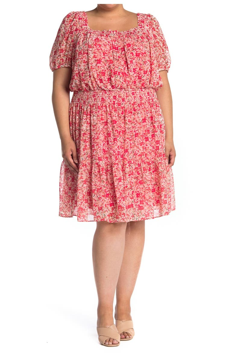 TAYLOR DRESSES Square Neck Puff Sleeve Floral Dress, Main, color, IVORY CLEMENTINE