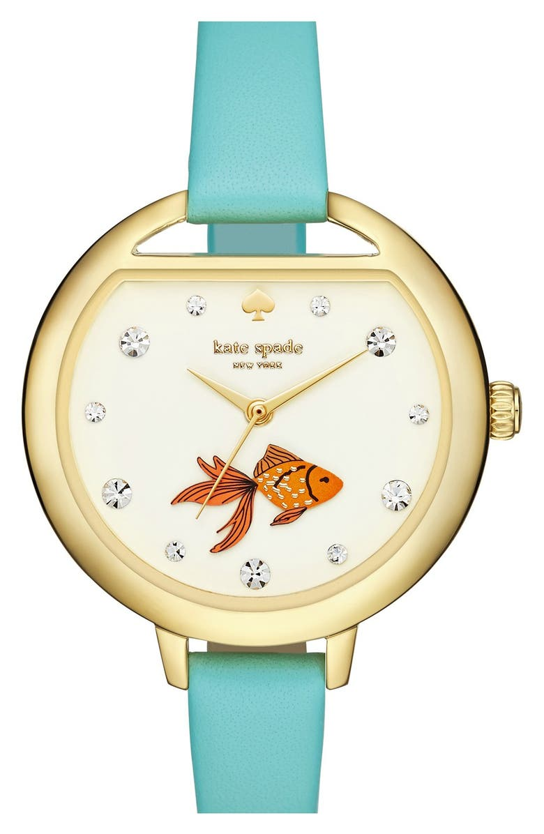 KATE SPADE NEW YORK 'metro - fishbowl' leather strap watch, 34mm, Main, color, FROSTED MINT/ FISH