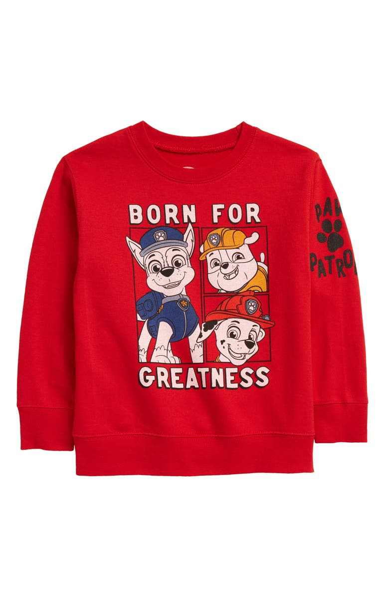 JEM Paw Patrol Born For Greatness Sweatshirt, Main, color, RED