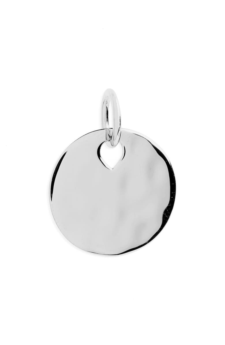 MONICA VINADER Engravable Hammered Pendant Charm, Main, color, Silver