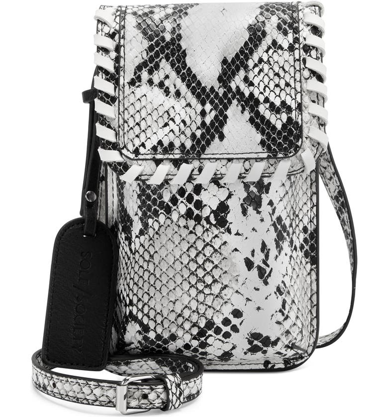 SOLE SOCIETY Salex Faux Leather Phone Crossbody Bag, Main, color, WINTER SNAKE