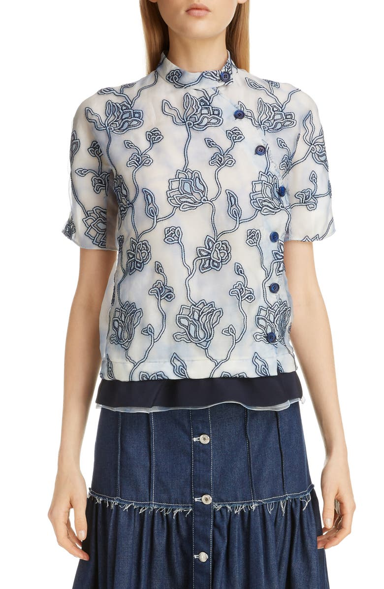 CHLOÉ Floral Embroidered Silk Blouse, Main, color, 020