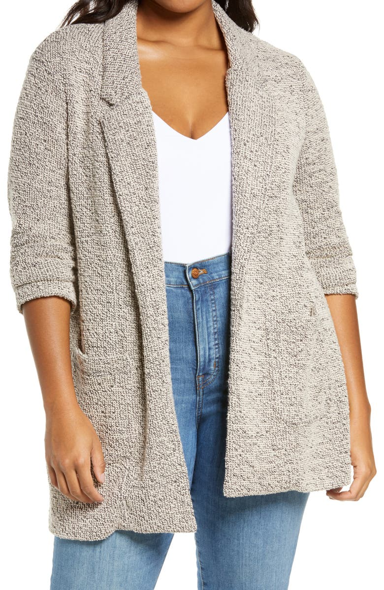 ASTR THE LABEL Tweed Knit Blazer, Main, color, CREAM-BLACK