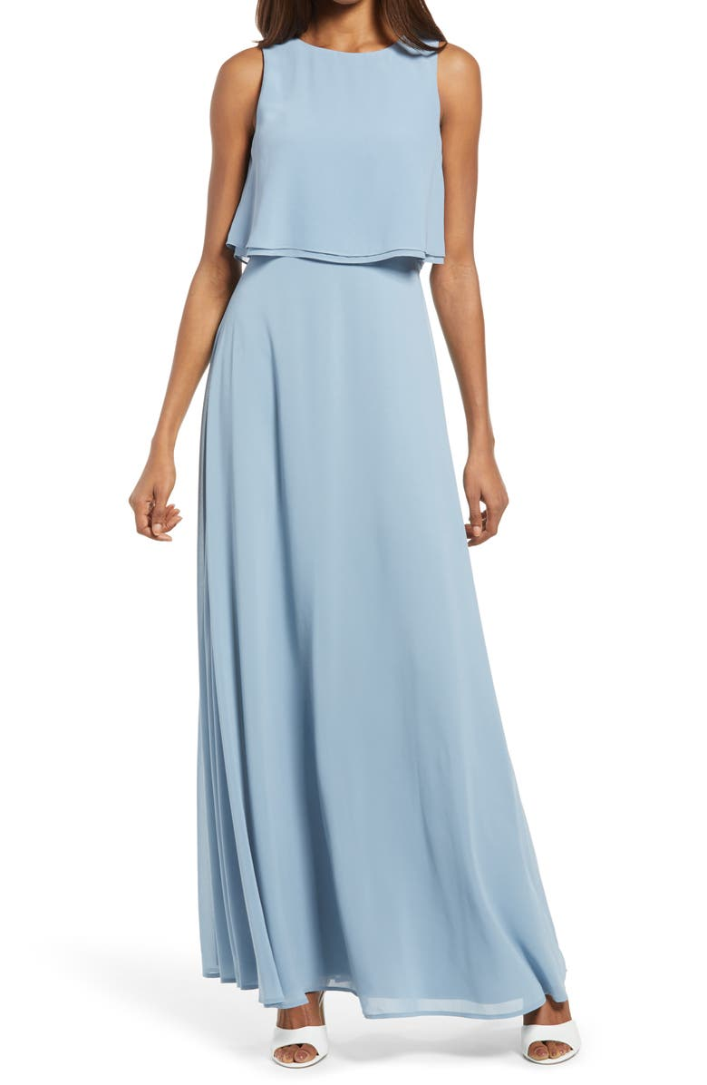 LULUS Utterly Enchanting Popover Chiffon Gown, Main, color, LIGHT BLUE