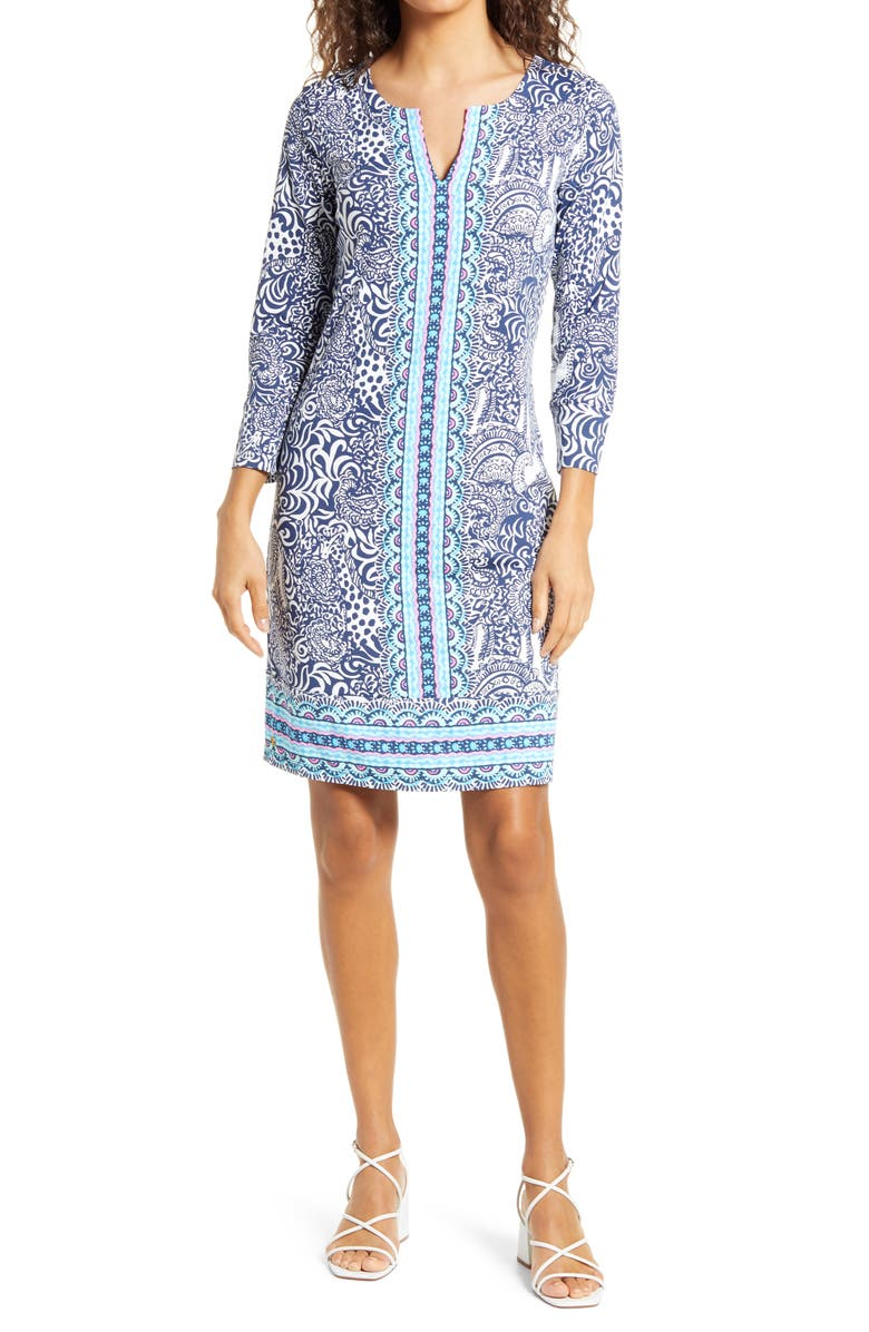 LILLY PULITZER<SUP>®</SUP> Nadine UPF 50+ Shift Dress, Main, color, HIGH TIDE
