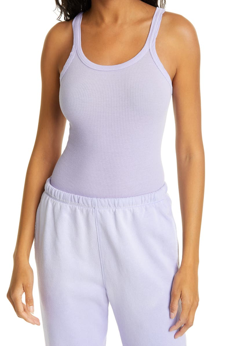 RE/DONE Ribbed Tank Top, Main, color, FADED ORCHID