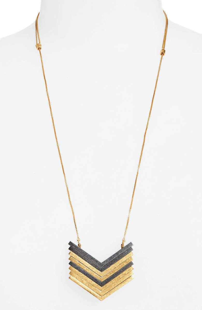 MADEWELL Arrowstack Necklace, Main, color, VINTAGE GOLD