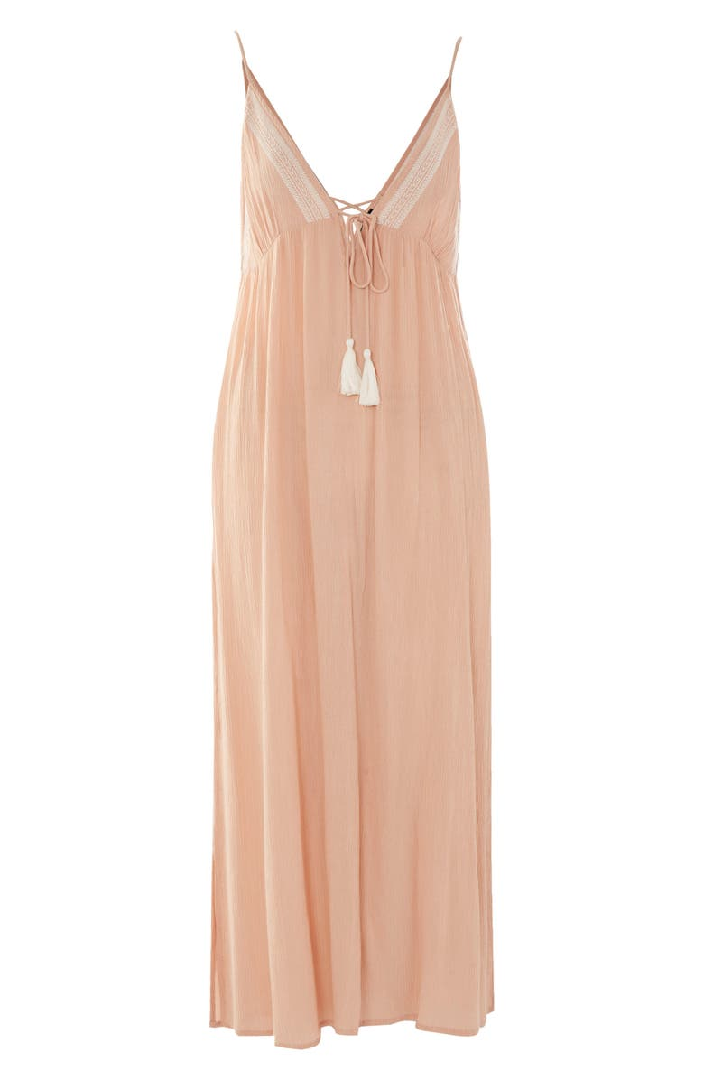TOPSHOP Embroidered Maxi Cover-Up, Main, color, LIGHT PEACH