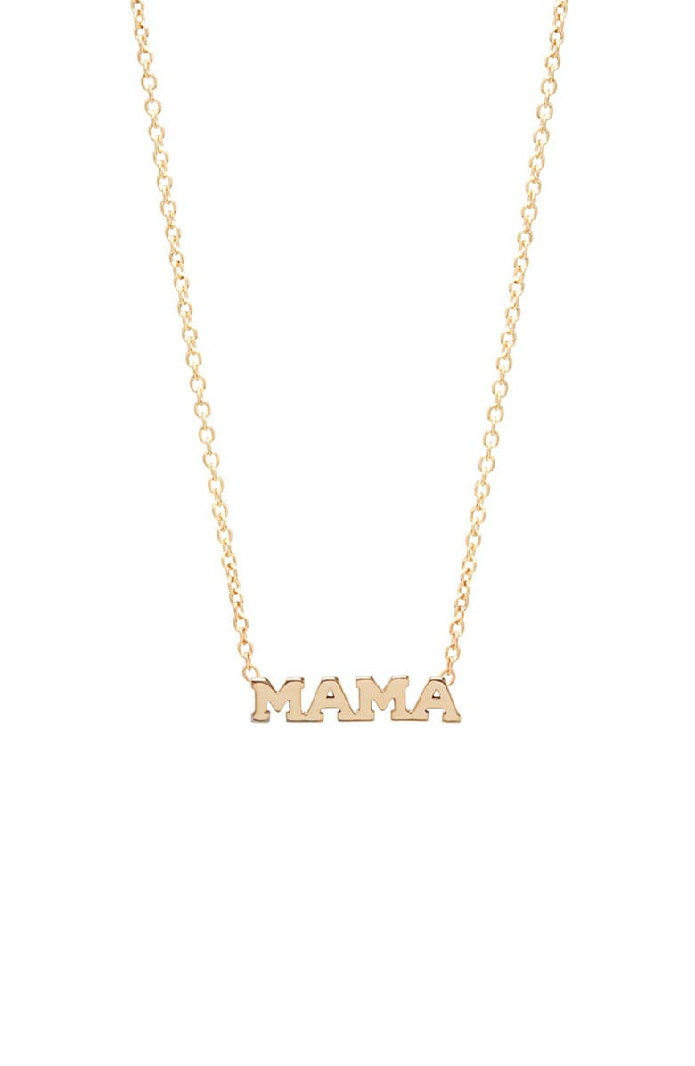 ZOË CHICCO Itty Bitty Mama Pendant Necklace, Main, color, YELLOW GOLD