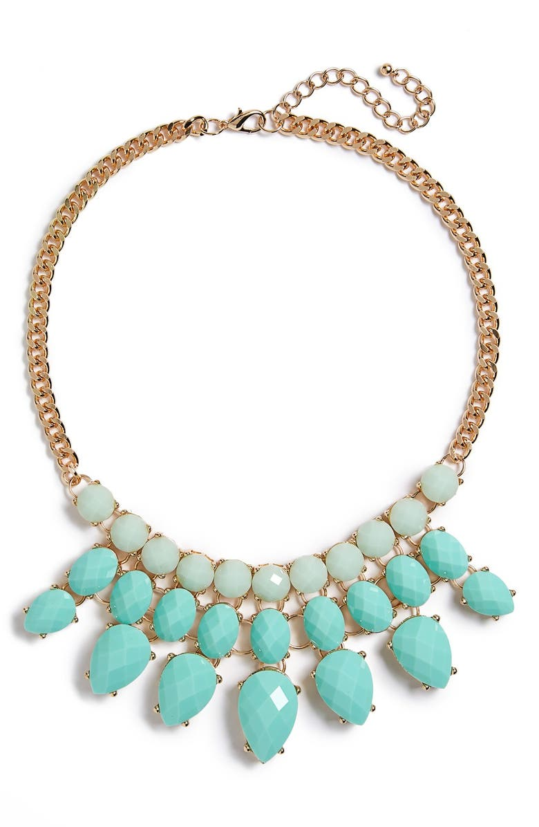 BP. Faceted Bead Statement Necklace, Main, color, TURQUOISE