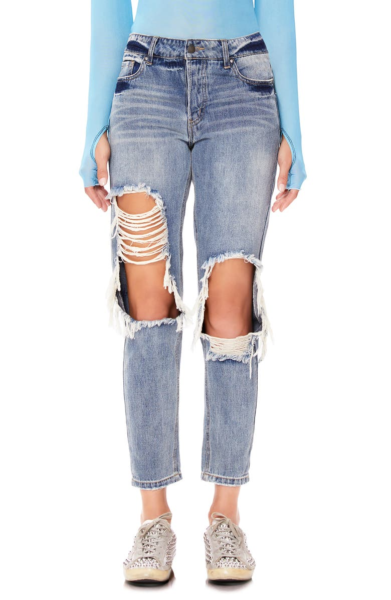 AFRM Cyrus Ripped High Waist Ankle Jeans, Main, color, SINNER WASH