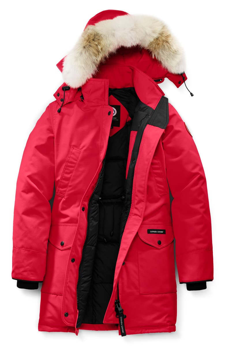 CANADA GOOSE Trillium Fusion Fit Hooded Parka with Genuine Coyote Fur Trim, Main, color, RED