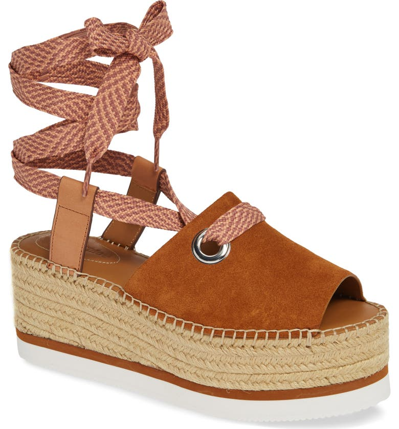 SEE BY CHLOÉ Glyn Amber Platform Ankle Wrap Sandal, Main, color, 250