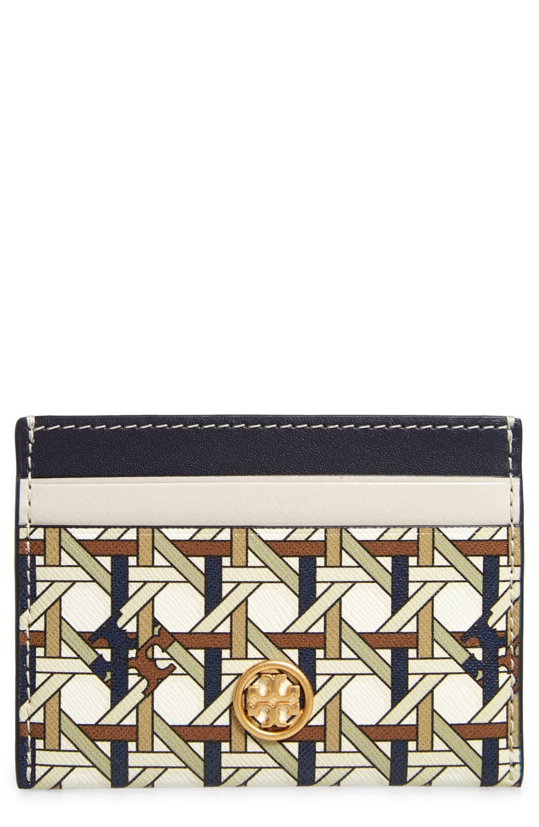 TORY BURCH Robinson Rattan Print Leather Card Case, Main, color, NEW IVORY BASKETWEAVE
