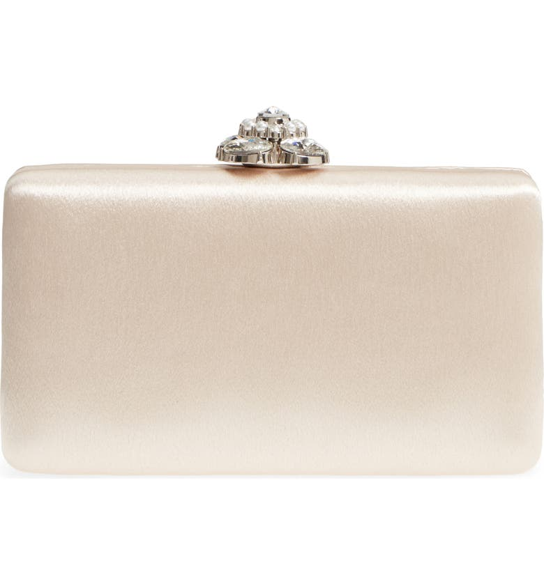 NORDSTROM Crystal Imitation Pearl Clasp Box Clutch, Main, color, BEIGE TUSCANY