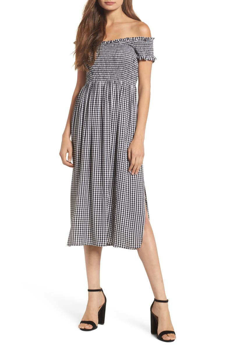 BARDOT Gingham Off the Shoulder Midi Dress, Main, color, 016