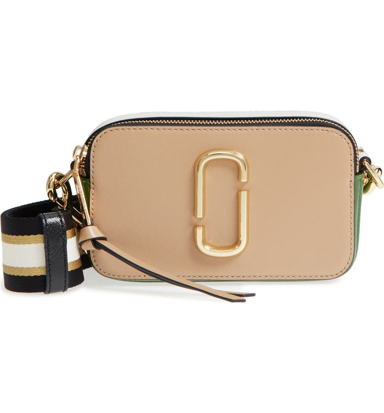MARC JACOBS The Snapshot Leather Crossbody Bag, Main, color, SANDCASTLE MULTI