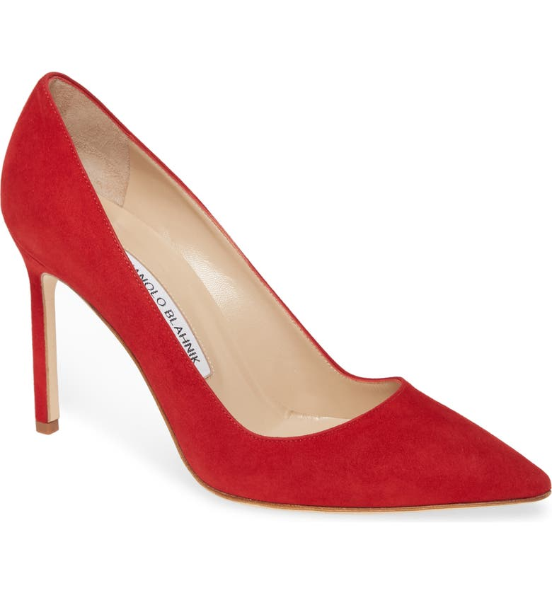 MANOLO BLAHNIK BB Pointed Toe Pump, Main, color, RED