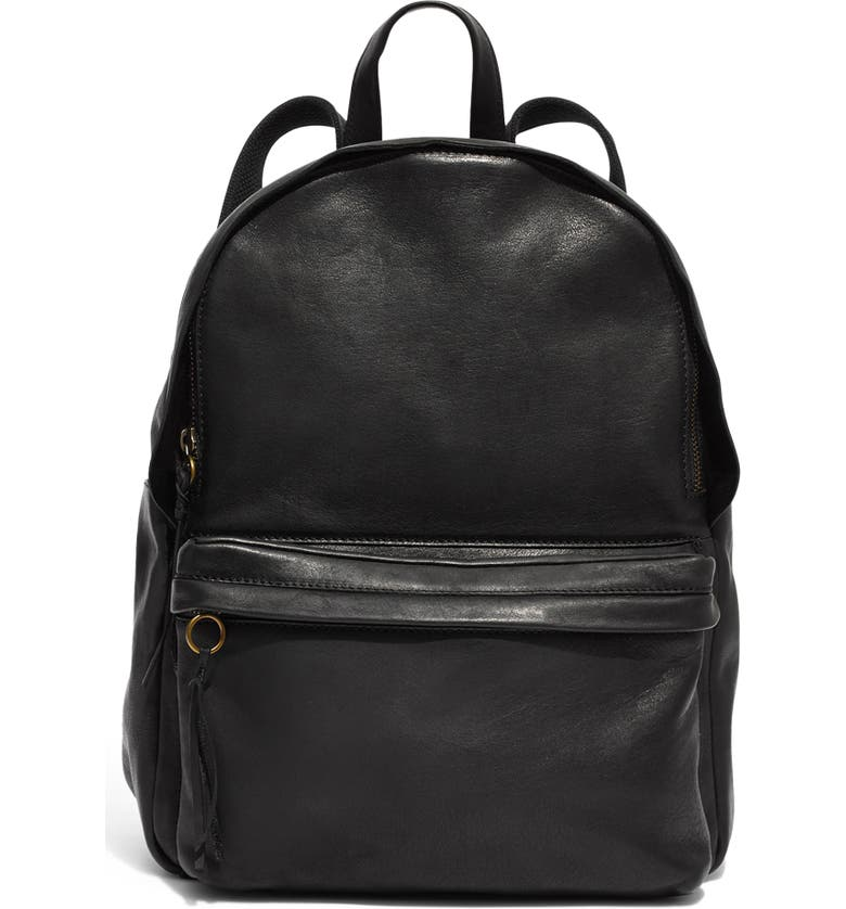 MADEWELL Lorimer Leather Backpack, Main, color, 001