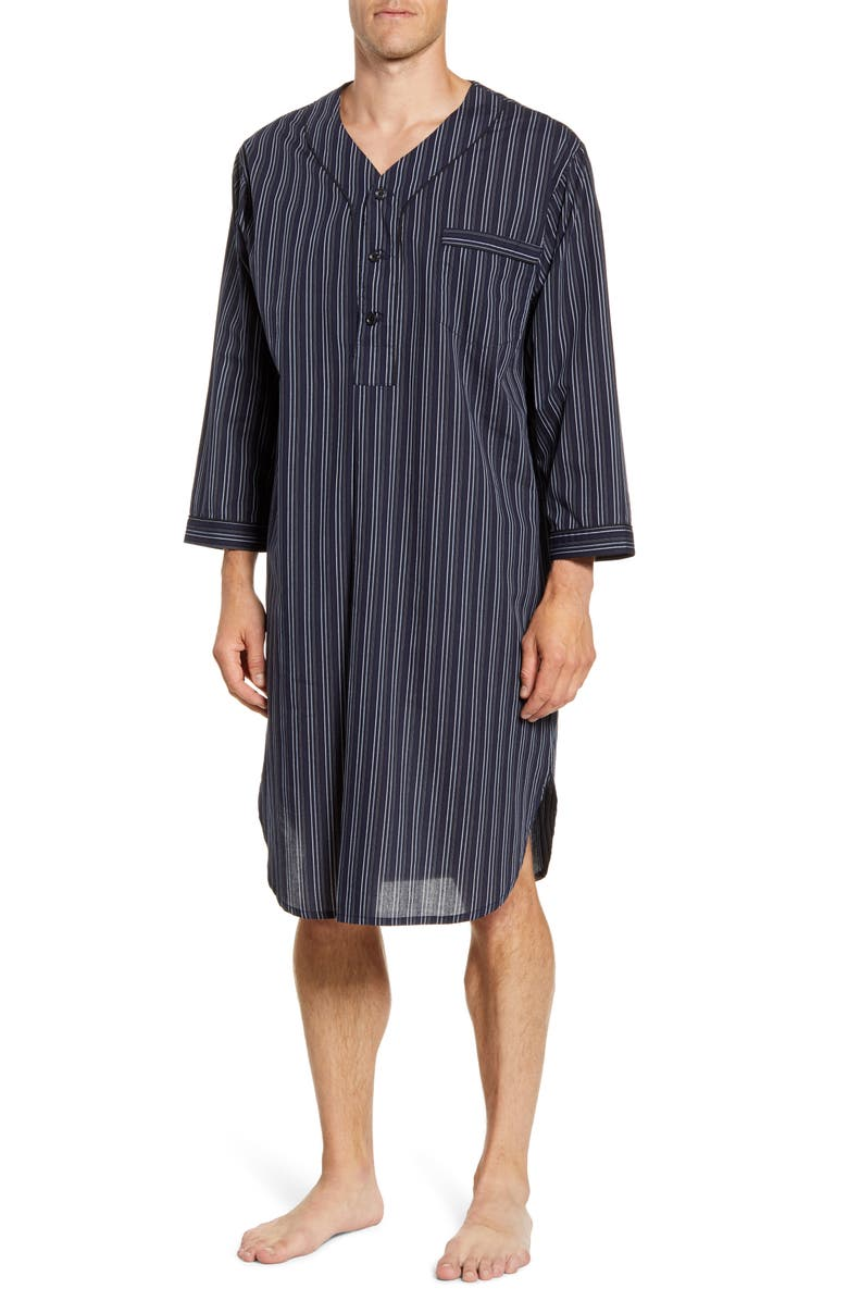 MAJESTIC INTERNATIONAL Bar Blues Cotton Blend Nightshirt, Main, color, NAVY