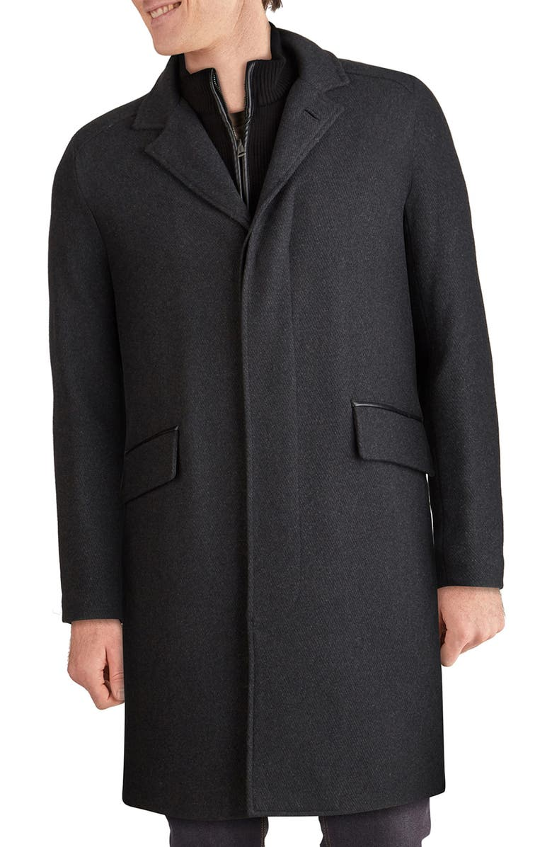 COLE HAAN SIGNATURE Wool Blend Twill Topcoat, Main, color, CHARCOAL
