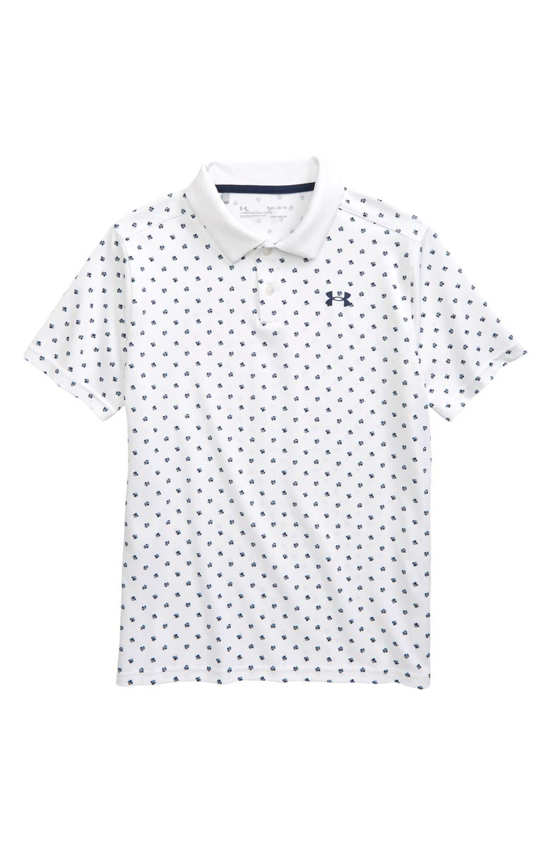 UNDER ARMOUR Kids' Poppie Performance Polo, Main, color, WHITE / ACADEMY / ACADEMY