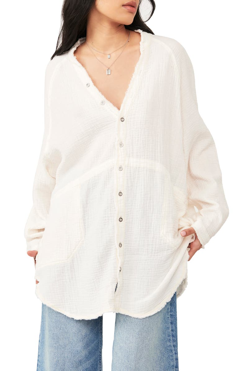 FREE PEOPLE Summer Daydream Button Shirt, Main, color, IVORY