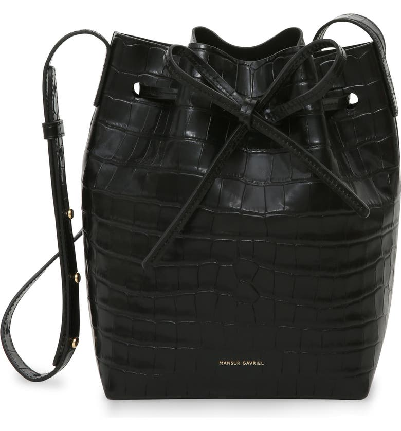 MANSUR GAVRIEL Mini Croc Embossed Leather Bucket Bag, Main, color, 001