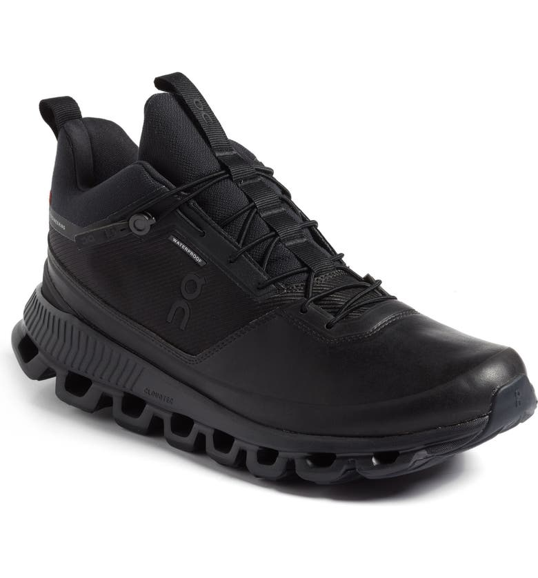 ON Cloud High Waterproof Sneaker, Main, color, ALL BLACK