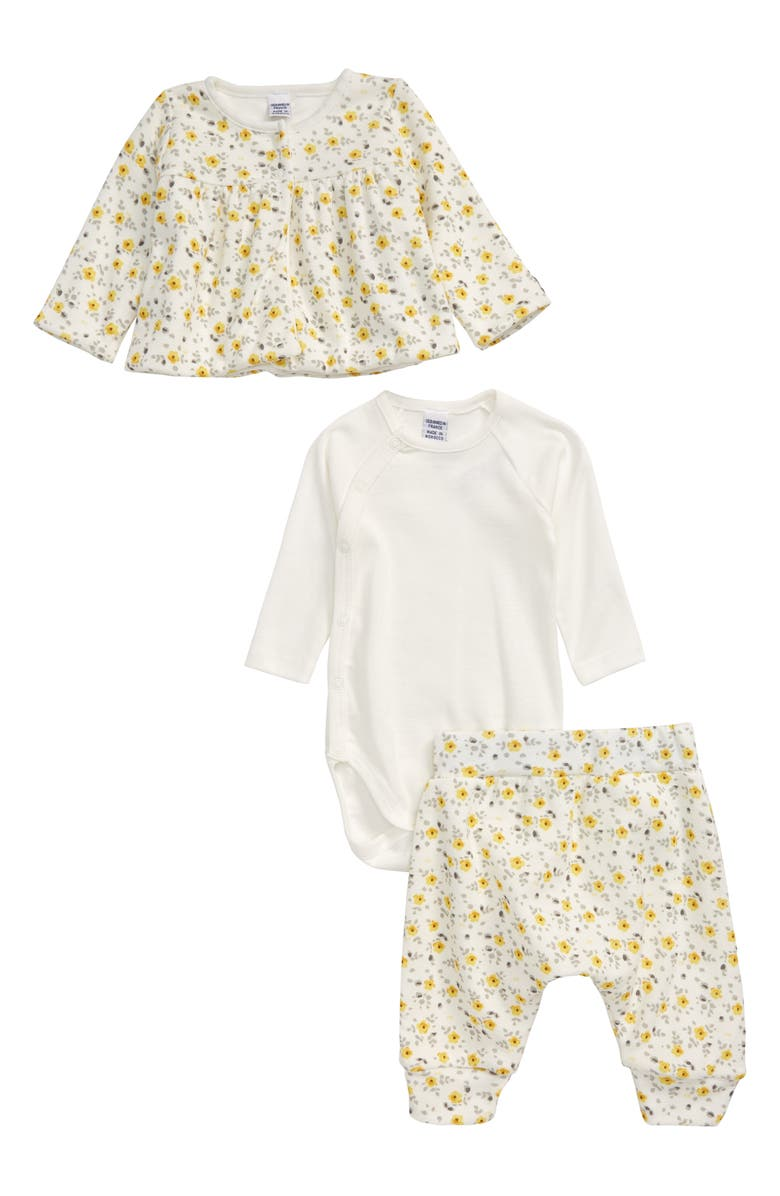 PETIT BATEAU Floral Cardigan, Long Sleeve Bodysuit & Pants Set, Main, color, 901