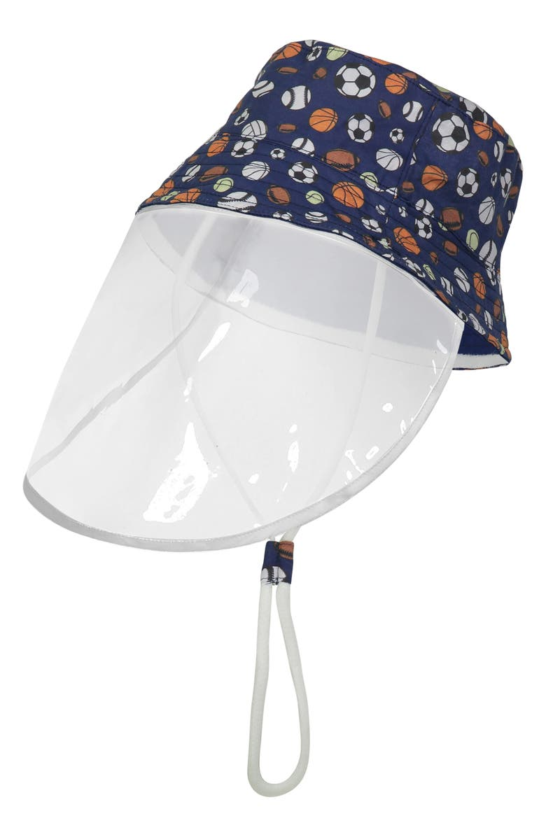 ANDY & EVAN Reversible Sport Print Bucket Hat with Removable Shield, Main, color, BLUE SPORTS