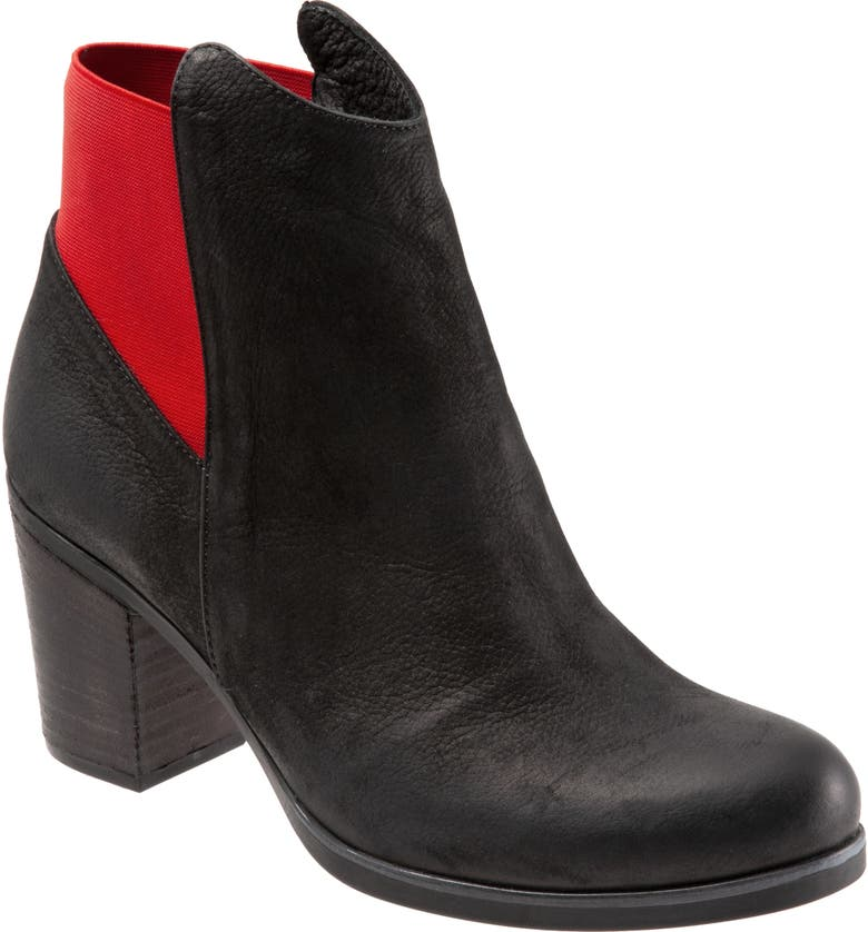 BUENO Watts Bootie, Main, color, BLACK NUBUCK/ RED