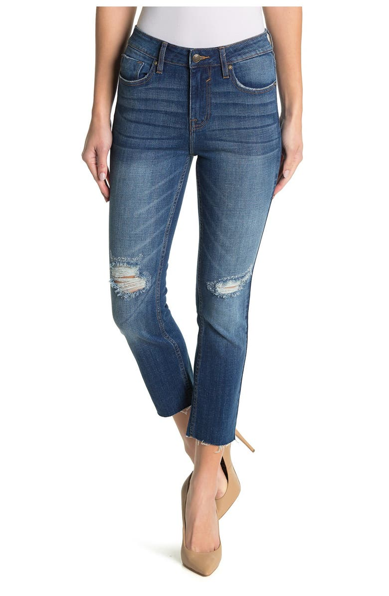 VIGOSS Stevie Cropped Straight Leg Distressed Jeans, Main, color, MED WASH