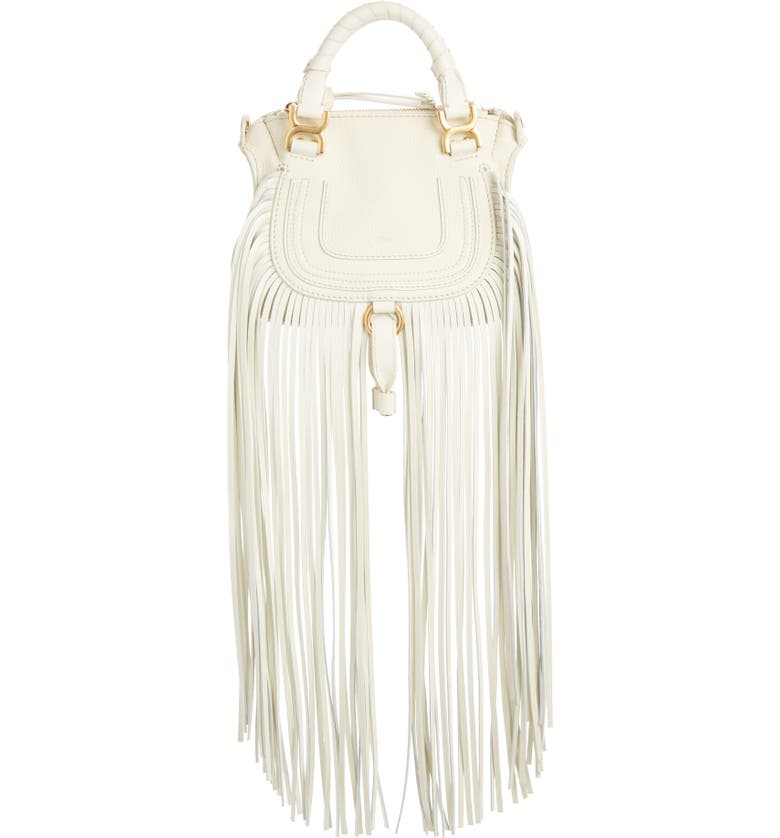 CHLOÉ Mini Marcie Fringe Leather Crossbody Bag, Main, color, NATURAL WHITE