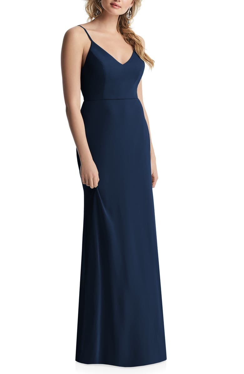 AFTER SIX Cowl Back Chiffon Trumpet Gown, Main, color, MIDNIGHT