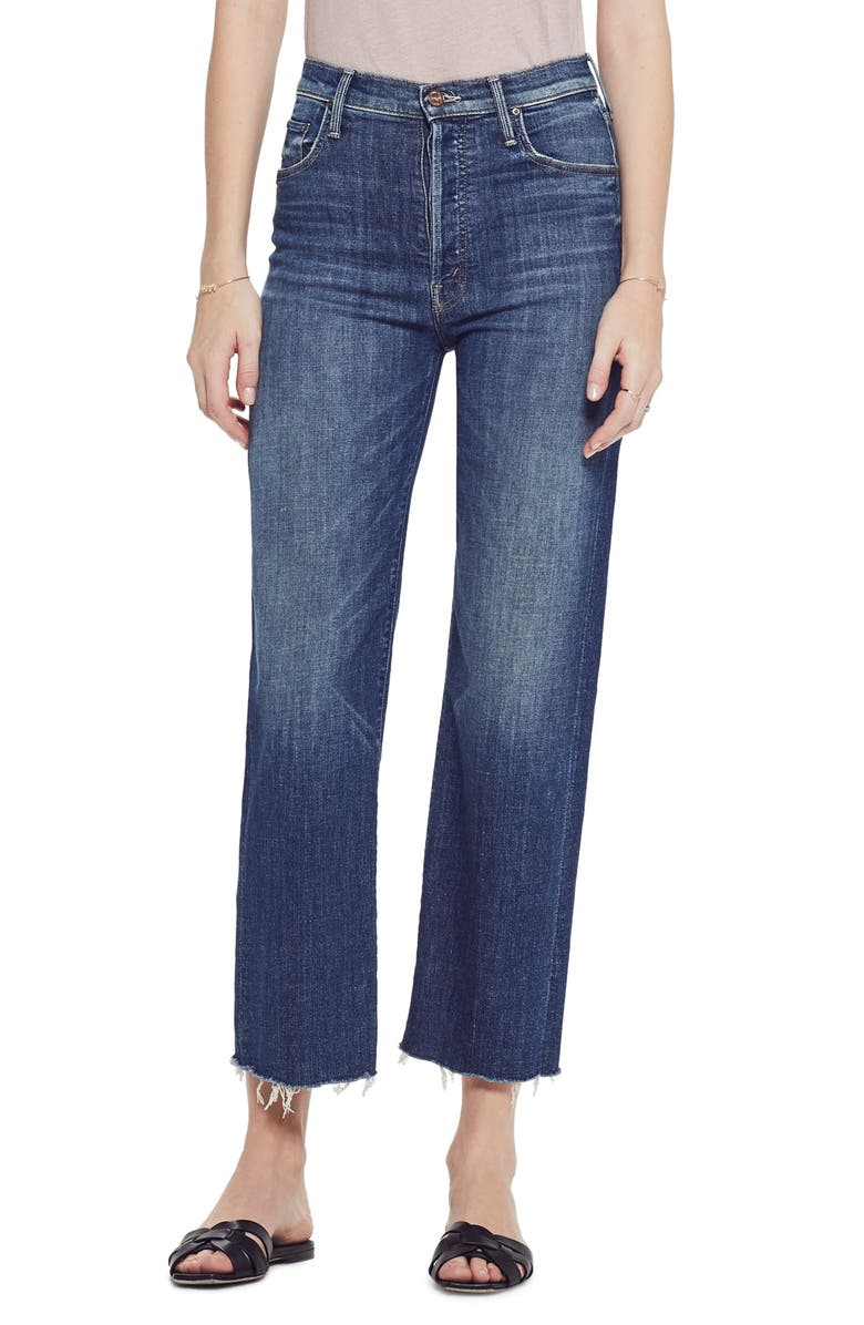 MOTHER The Rambler High Waist Fray Wide Leg Jeans, Main, color, ON DUTY
